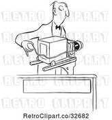Vector Clip Art of Cartoon Photographer and Camera by Picsburg