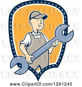 July 21st, 2018: Vector Clip Art of Cartoon Retro Guy Holding a Spanner Wrench in a Blue White and Yellow Shield by Patrimonio