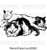Vector Clip Art of Cats Napping by Prawny Vintage