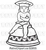 Vector Clip Art of Cherub Chef Sitting on an Upside down Cup by Picsburg