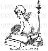 Vector Clip Art of Cherub Sitting on Books by a Candle by Prawny Vintage