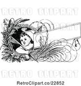 Vector Clip Art of Child with a Quill Pen Flowers and Banner by Prawny Vintage