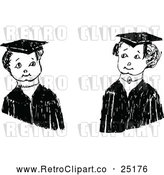 Vector Clip Art of Confused Retro Graduate Kids by Prawny Vintage