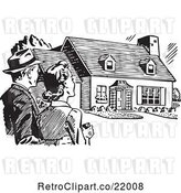 Vector Clip Art of Couple Gazing at a House by BestVector