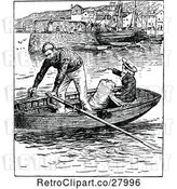 Vector Clip Art of Couple in a Row Boat by Prawny Vintage
