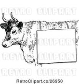 Vector Clip Art of Cow with a Sign by Prawny Vintage