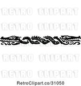 Vector Clip Art of Crocodile Border by Prawny Vintage