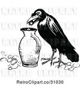 Vector Clip Art of Crow Dropping a Pebble into a Jug by Prawny Vintage