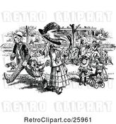 Vector Clip Art of Crowd Around a Perfoming Bear by Prawny Vintage