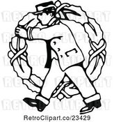 Vector Clip Art of Delivery Guy Carrying a Large Christmas Wreath by Prawny Vintage