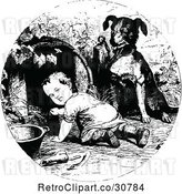 Vector Clip Art of Dog Supervising a Crawling Baby by Prawny Vintage