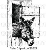 Vector Clip Art of Donkey in a Stall by Prawny Vintage