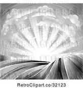 Vector Clip Art of Engraved or Woodcut Cloud and Sunrise Sky over Farmland by AtStockIllustration
