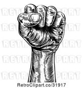Vector Clip Art of Engraved Propaganda Fist by AtStockIllustration