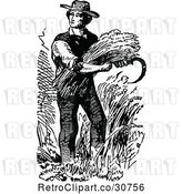 Vector Clip Art of Farmer Harvesting by Prawny Vintage