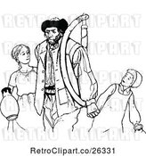 Vector Clip Art of Father with KChildren by Prawny Vintage
