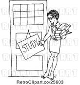 Vector Clip Art of Female Teacher with a Study Sign by Prawny Vintage