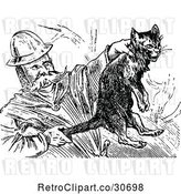 Vector Clip Art of Firefighter Saving a Cat by Prawny Vintage