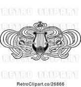Vector Clip Art of Floral Lyre Design Element by Prawny Vintage