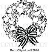 Vector Clip Art of Fruit Wreath and Bow by Prawny Vintage