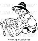 Vector Clip Art of Girl and Puppy in a Bucket by Prawny Vintage