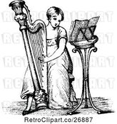 Vector Clip Art of Girl Playing a Harp by Prawny Vintage