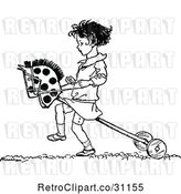 Vector Clip Art of Girl Playing with a Hobby Horse by Prawny Vintage