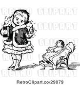 Vector Clip Art of Girl Teaching Her Dolls by Prawny Vintage