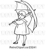 Vector Clip Art of Girl with an Umbrella 1 by Prawny Vintage