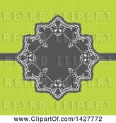 Vector Clip Art of Gray and White Frame over Green Polka Dots by KJ Pargeter