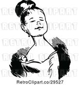 Vector Clip Art of Grinning Young Lady by Prawny Vintage