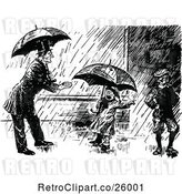 Vector Clip Art of Guy and KChildren in the Rain by Prawny Vintage