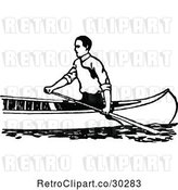Vector Clip Art of Guy Canoeing 2 by Prawny Vintage