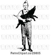Vector Clip Art of Guy Carrying a Pig by Prawny Vintage