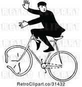 Vector Clip Art of Guy on a Broken Bicycle by Prawny Vintage