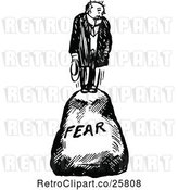Vector Clip Art of Guy on a Fear Boulder by Prawny Vintage