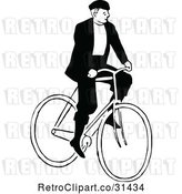 Vector Clip Art of Guy Riding a Bicycle 1 by Prawny Vintage