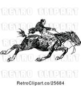 Vector Clip Art of Guy Riding a Fast Horse by Prawny Vintage