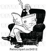Vector Clip Art of Guy Smoking and Reading the News by Prawny Vintage