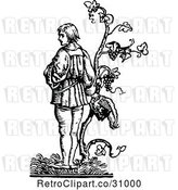 Vector Clip Art of Guy with a Grape Vine by Prawny Vintage