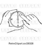 Vector Clip Art of Hands Holding a Compass by Prawny Vintage
