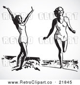 Vector Clip Art of Happy Retro Women on a Beach by BestVector