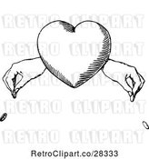 Vector Clip Art of Heart and Hands Dropping Coins by Prawny Vintage