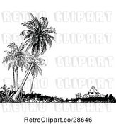 Vector Clip Art of House and Palm Trees by Prawny Vintage