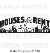 Vector Clip Art of Houses for Rent Sign by BestVector