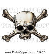 Vector Clip Art of Intimidating Retro Human Skull and Crossbones by AtStockIllustration