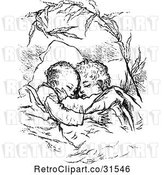 Vector Clip Art of KChildren Sleeping and Hugging by Prawny Vintage