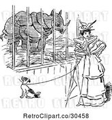 Vector Clip Art of Lady and Dog by a Rhino Cage by Prawny Vintage