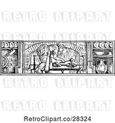 Vector Clip Art of Lady Basting Meat in a Fireplace by Prawny Vintage