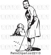 Vector Clip Art of Lady Golfing by BestVector